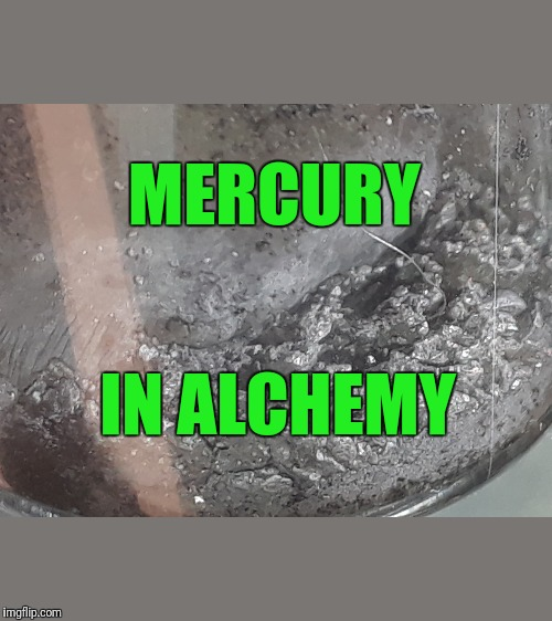 Science Experiment with elemental  mercury hg image