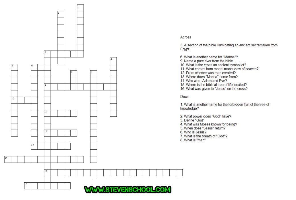 Test Your Bible Skills Crossword Puzzle