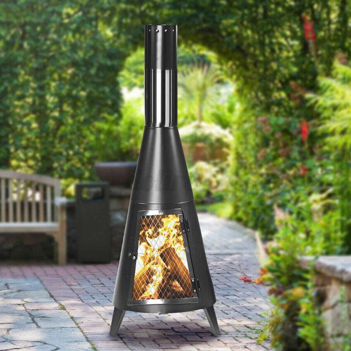 outdoor wood burning fireplace chimenea